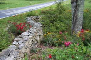 Dry stacked stone wall to prevent stormwater erosion and protect garden.